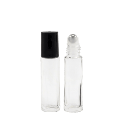 10ml Clear Thick Glass Roller Bottles Cap On and Cap Off