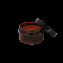 100g amber PET jar with lid off