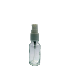 20ml clear glass bottle with white mister spray